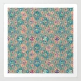 Lotus flower - pistachio green woodblock print style pattern Art Print