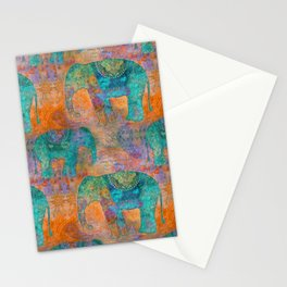 Elephant Pattern allover orange turquoise Stationery Cards