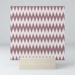 Pantone Red Pear and White Zigzag Pointed, Rippled Horizontal Line Pattern Mini Art Print