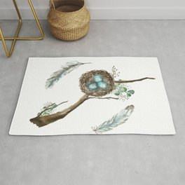 Nest Eggs and Feathers Rug