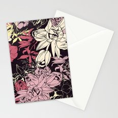Spring flowers pattern. Narcissus, tulips and other, purple & orange. Stationery Cards