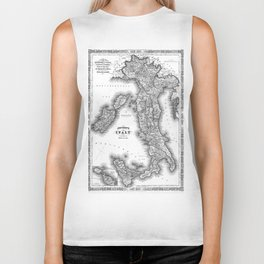 Vintage Map of Italy (1864) BW Biker Tank