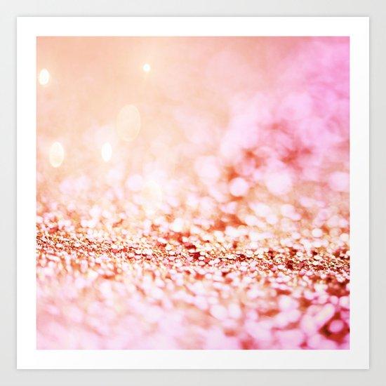 Pink shiny glitter - Sparkle Girly Valentine Backdrop on #Society6 Art Print