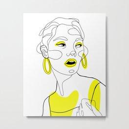 Fashion line art girl Metal Print