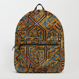 Samarkand blue and cocoa brown broken pattern Backpack