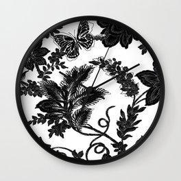 Paisley Jacobean black and White Wall Clock