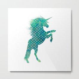 Blue Boho Unicorn Metal Print