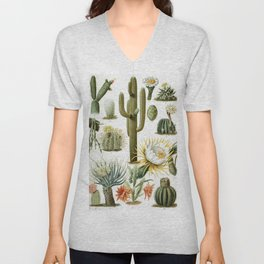 Cactaceae German Botanical Print from Brockhaus Encyclopedia Unisex V-Neck