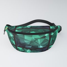 Polygonal geometric triangles pattern . Green , purple and turquoise Fanny Pack