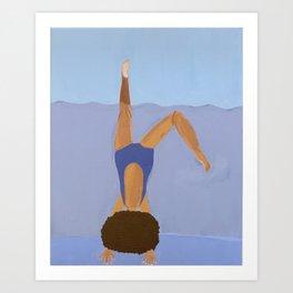 Blue Handstand Art Print