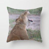 simba Throw Pillows featuring Sleepy Simba by Fer Ruz