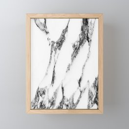 White Marble Framed Mini Art Print