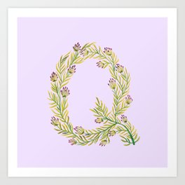Leafy Letter Q Art Print