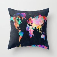 world map Throw Pillows featuring World map by Bekim ART