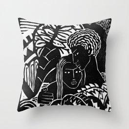 Couple Embracing - Vintage Block Print Throw Pillow