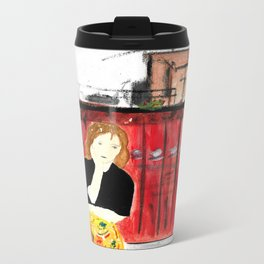 Portrait of my Mother in Rome French Fine Art Painting Metal Travel Mug