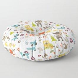 Cute Woodland Creatures Pattern Floor Pillow