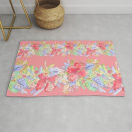 hawaiian flowers red pink Rug