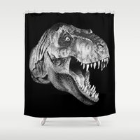 trex Shower Curtains featuring T-rex  Shower & Duvet  by Spyck