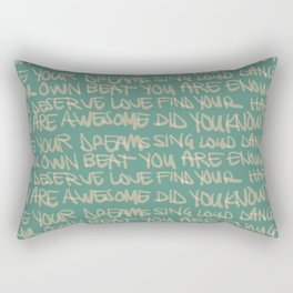 You are Awesome Green andTan Rectangular Pillow