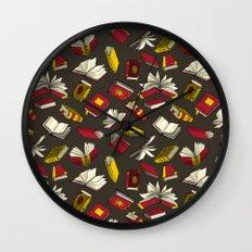 Spellbooks, maroon Wall Clock