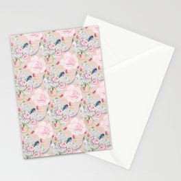 Watercolor Roses and Blush French Script Stationery Cards