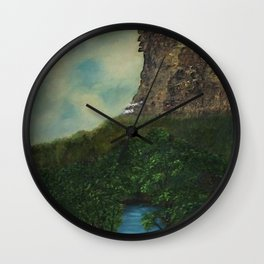 Old Man in the Mountain, Franconia Notch, White Mountains New Hampshire landscape painting Wall Clock