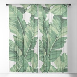 Tropical banana leaves Sheer Curtain