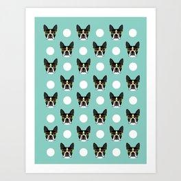 Logan - Boston Terrier pattern polka dots dog print gift for dog person dog lovers terrier custom Art Print