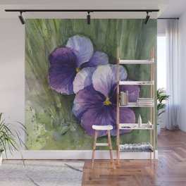 Purple Pansies Watercolor Flowers Painting Violet Floral Art Wall Mural