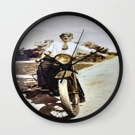Vintage Early 1900's Motorcycle & Rider Wall Clock