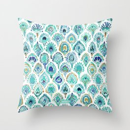 PEACOCK MERMAID Nautical Scales and Feathers Throw Pillow