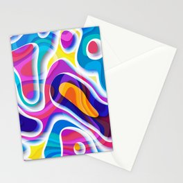 Bright colors paper cut out geometric pattern Stationery Cards