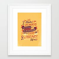 library Framed Art Prints featuring Library by Risa Rodil