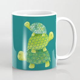 Turtle Stack Family in Teal and Lime Green Coffee Mug