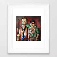 grantaire Framed Art Prints featuring reverse25th!Enjolras and Grantaire by Fra França