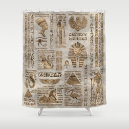 Egyptian hieroglyphs and deities -Vintage Gold Shower Curtain
