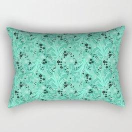 Elegant Flowers & Leaves Teal Green Pattern Design Rectangular Pillow