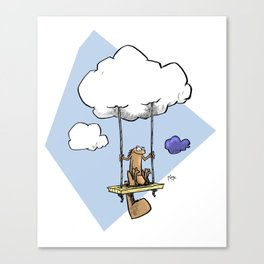 Squirrel swinging on a cloud Canvas Print