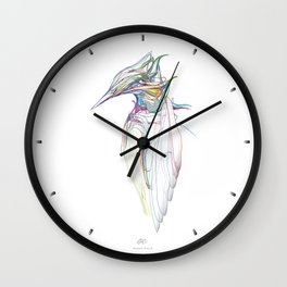 Kingfisher 1c. Color lines on white background-(Red eyes series) Wall Clock