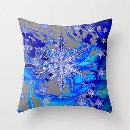MODERN ROYAL BLUE WINTER SNOWFLAKES GREY ART Throw Pillow