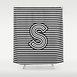 Track - Letter S - Black and White Shower Curtain