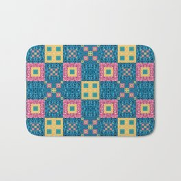 Classic Pretty Quilt Geometric Print in Yellow Pink and Blue Bath Mat