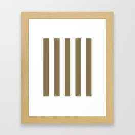 Gold Fusion grey - solid color - white vertical lines pattern Framed Art Print