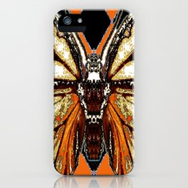 RIBBED WHITE BROWN & BLACK BUTTERFLY WING VEINS iPhone Case