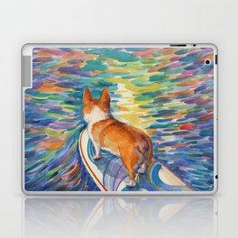 Corgi - sunset surfer Laptop & iPad Skin