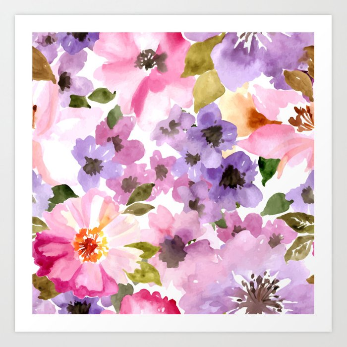 pink purple watercolor flowers art print by junkydotcom society6
