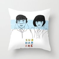 submarine Throw Pillows featuring Submarine by ☿ cactei ☿