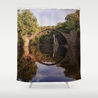 geology Shower Curtains featuring Mystical stone arch by UtArt