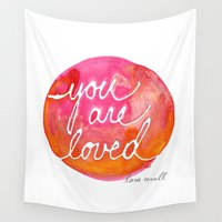 lara croft Wall Tapestries featuring You Are Loved Inky Dot by Lara Cornell by Lara Cornell